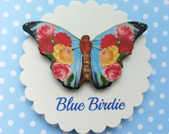 Butterfly brooch blue flower butterfly pin brooch gifts for her butterfly jewlery insect jewelry nature jewelry butterfly brooch pin