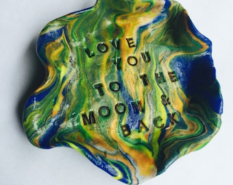 Trinket dish miniature hand sculpted ring bowl hand stamped blue green gold yellow love you to the  moon and back