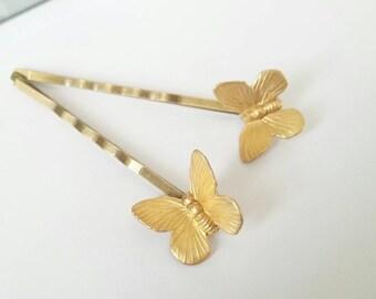 Butterfly hair pins gold hair pins woodland hair pins butterfly hair accessories butterfly hair clips prom hair accessory nature hair clip