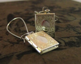 Silver Book Locket Earrings librarian gift book jewelry book pendant book lover for her book lover gift miniature book teacher gift