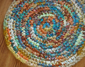 """25"""" Round Rag Rug in Blues, Greens, Tans, Rust, Etc"""