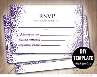 Wedding RSVP template,Wedding RSVP,Wedding Response Cards,Purple Wedding RSVP Card, Aubergine Wedding