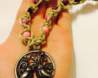Bird Necklace, Thick Macrame Hemp Necklace, Silver Pendant with Birds, Hemp Necklace, Hemp Jewelry, Beaded Jewelry