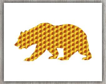 Download Printable Digital Download, Instant Download Art, Animal Wall Art, Yellow Wall Art, Honey Downloadable Print, Bear Decor Bear Print