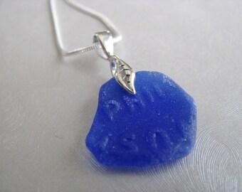 Genuine Sea Glass -Small Sea Glass Pendant - Cobalt Blue- Beach Glass Pendant-Beach Glass Jewelry from Prince Edward Island-Gifts of the Sea