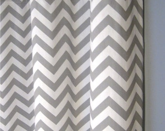 "96"" Grey Zig Zag Grommet Curtains - Two Chevron Curtain Panels - 50""x96"" - FREE SHIPPING"
