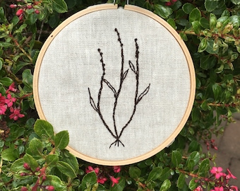 Simple florals, blackwork, embroidery, minimalistic