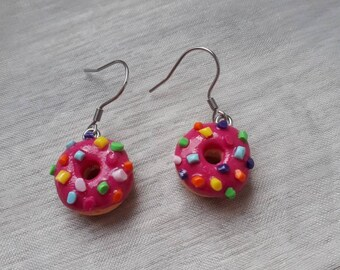 Earrings donuts polymer clay