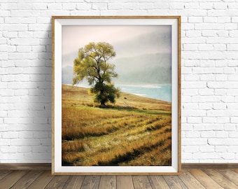 "landscape, landscape print, instant download printable art, photography, color, instant download, art print, wall art prints - ""Grassy Hill"""
