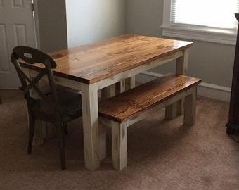 Distressed Rustic Farmhouse Table -Custom- Wood