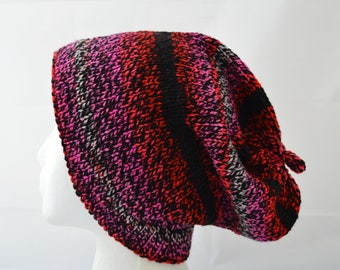 Hand Knit Slouchy Hat, Slouchy Beanie, Pink Red and Black Hat, Sized Gender Neutral