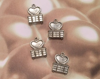 Heart Dresser Charms -4 pieces-(Antique Pewter Silver Finish)