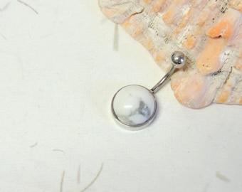 White Howlite Stone Belly Ring, White Turquoise, Non Dangle Belly Ring, Simple Belly Ring, Navel Piercings