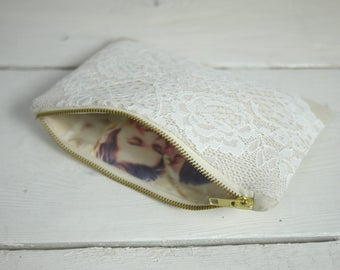 Bridal photo clutch | Photo Personalized Bridal Lace Clutch Bag Bridesmaids Gift