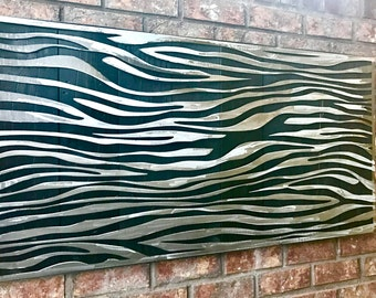 Metal and Wood Wall Art Modern Home Decor Unique Art Black White Contemporary -Zebra Print Edition 1l Reclaimed Wood by Mish Mash Metal