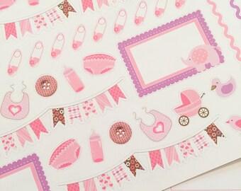 42 Baby Girl Planner Stickers- Baby Shower Stickers- perfect in your Erin Condren, Plum Paper, wall calendar or scrapbook