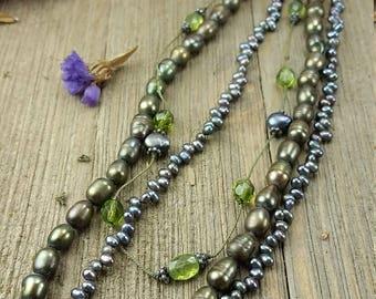 Vintage Green/ Metallic Beaded Necklace