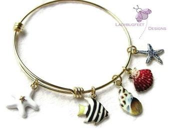 Gold plated Tropical Fish and Seashells Adjustable bangle bracelet, charm bracelet, beach bangle