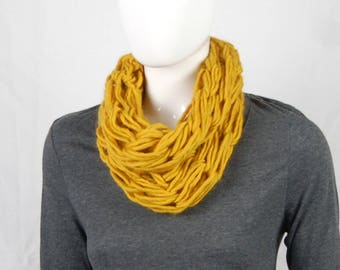 Mustard cowl, chunky cowl, wool cowl scarf, giant knitting, womens scarf, ladies knits, mothers day gift, gift for mum