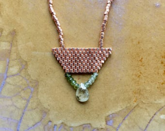 Gold and gemstone necklace, simple seedbead necklace, green garnet necklace, tourmaline necklace, brickstitch necklace