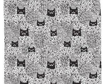 Cat Home Decor, Cute Cat Shower Curtain, Flower Shower Curtain, Black Cats Decor, Floral Bathroom, Minimal Decor, Black and White Fabric