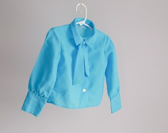 """Turquoise """"Office Girl"""", Little Lady Blouse - Sz 25 Bust"""