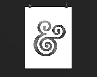Ampersand print, typography print, Ampersand poster, typography poster, minimalist print, ampersand