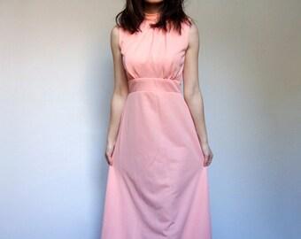 Sleeveless Maxi Dress Peach Floor Length Vintage 70s Long Dress - Small. Medium. S/ M