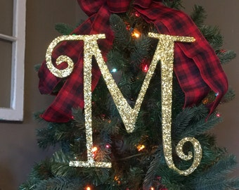 """Decorative 12"""" Gold Monogram Christmas Tree Topper, Letter Wreath, Initial, Wedding Decor, Holiday Decor, Front Door Letter,"""