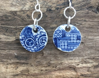 SeaPottery carved cit le earrings in blue willoe