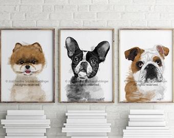 Printable Custom Dog Portrait, Custom Pet Portrait, Custom Dog Painting, Custom Portrait, Pet Portrait Custom, Dog Memorial, Birthday Gift