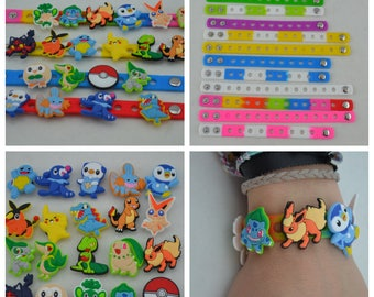 Pokemon Silicone Charms and Bracelets. Great for birthday party favors, cupcake cake toppers, giveaways and game prizes.