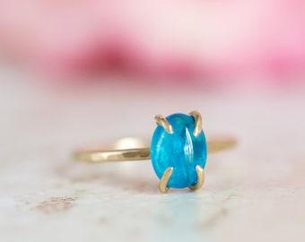 Apatite Ring, Neon Blue Apatite Gold Ring, Apatite Prong Set Ring