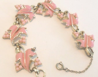 Vintage Signed CORO Bracelet w/ Leaves and Berries Thermoset Plastic Pink