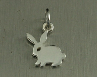 Sterling Silver Bunny--Rabbit Charm--Hare Pendant--Bunny Ears--Animal Charm--Woodland Charm--Easter Idea--Nature Lover--Forest Animal