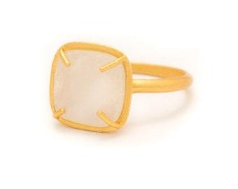 Moonstone in Yellow Gold Gemstone Ring - Gold Ring - Square Cushion Cut  - Gemstone Ring - Sizes  5, 6, 7, 8, 9, 10