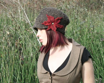 Tree Bark Slouchy Newsboy Brown Tweed Hat with Red Felted Flower All Wool