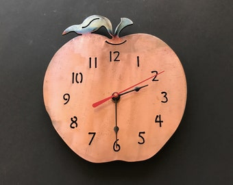 "Apple Clock, 8"" Wall Clock, Apple Metal Wall Clock, Metal Clock, Teacher's Clock"