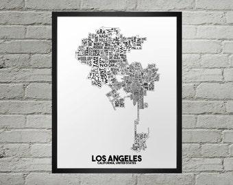 Los Angeles California Neighborhood Typography City Map Print