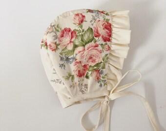 Floral baby bonnet /linen/ cotton bonnet.