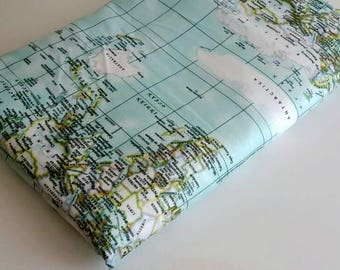 Worldmaps fabric -Maps print , - fabric map of the world  - mint blue fabric - fabric map - world fabric yardage