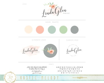 Mini Branding Package, Photography Logo and Watermark, Watercolor Floral , Wedding Logo, Decor logo, Boutique Logo, Gold foil logo