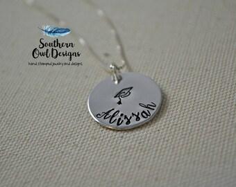 graduation necklace, custom graduation necklace, graduation necklace with name, graduation gift, grad cap necklace