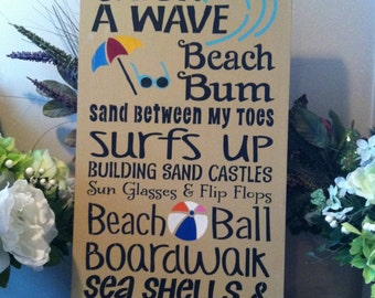 "Wood sign Catch a Wave wood sign 12"" x 24"""