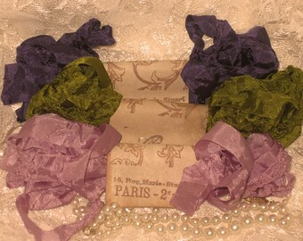 French Inspired Seam Binding Ribbon Distressed and Scrunched  - La Fleur Violette- French Marche (SB005)