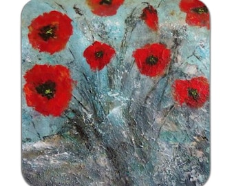 Poppies Rock Coasters/Drink Mats, Set of 4 - Tracey Zorek Art