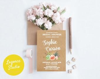 Succulent Bridal Shower Invitation on Kraft paper | Desert Bridal Shower Invitation| Cactus Bridal Shower Invitation