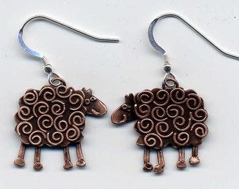Swirly Sheep Copper Finish Drop Earrings