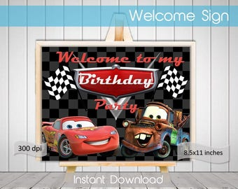 Cars Welcome Sign Cars Birthday Welcome Sign Printable Birthday Party Theme Digital Welcome Sign INSTANT DOWNLOAD