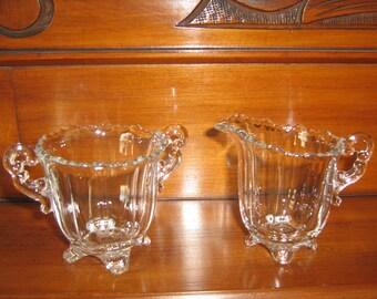 Vintage Clear Glass Cream/Sugar Set